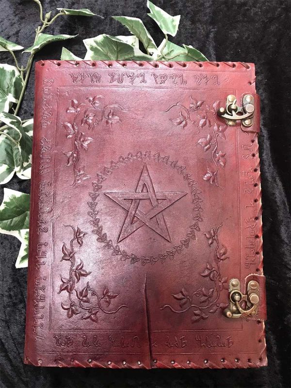 NEMESIS NOW Pagan Large Lockable Leather Embossed Floral Pentagram Journal / Book of Shadows